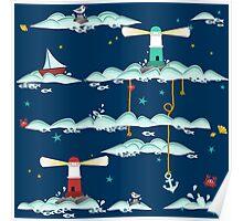 Maritimes Muster - I love the Baltic Sea - dunkelblau Poster