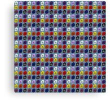 Tiled Open Roses, Red, White, Black, Blue, Pink, Purple Canvas Print