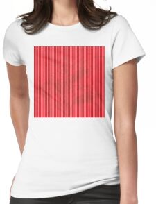 white and red grunge stripes Womens Fitted T-Shirt