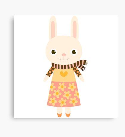 Cute kawaii cartoon bunny rabbit Canvas Print