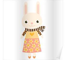 Cute kawaii cartoon bunny rabbit Poster