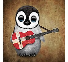 Baby Penguin Playing Danish Flag Guitar Photographic Print