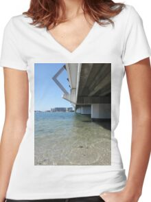 Calm Bridge Water Women's Fitted V-Neck T-Shirt