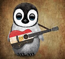 Baby Penguin Playing Egyptian Flag Guitar by Jeff Bartels