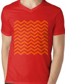 Orange Chevron Lines Mens V-Neck T-Shirt