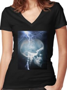 skull 1 Women's Fitted V-Neck T-Shirt