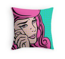 Sad Girl - Pink Throw Pillow