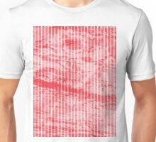 Grunge red and white stripes texture Unisex T-Shirt