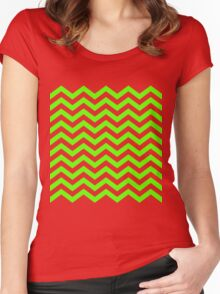 Lime Green Chevron Lines Women's Fitted Scoop T-Shirt