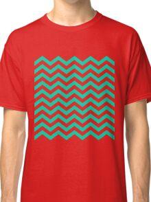 Aqua Chevron Lines Classic T-Shirt