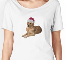 Golden Retriever Santa Claus Merry Christmas Women's Relaxed Fit T-Shirt