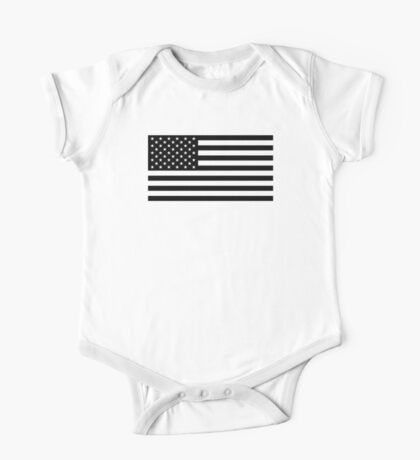 U.S. Flag: Black & White One Piece - Short Sleeve