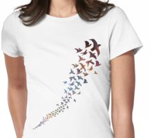 Take Flight in Rainbow Galaxy Womens Fitted T-Shirt
