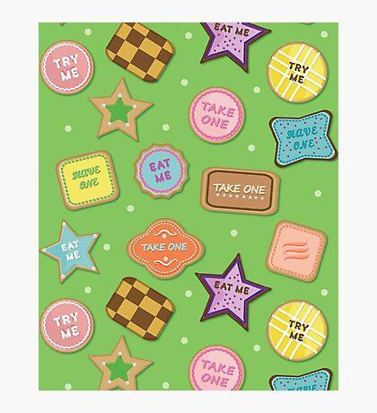 Alice In Wonderland Eat Me Cookies In Honeydew Photographic Print