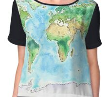 World Watercolor Map - Giclee Print of Hand Painted Original Art Chiffon Top