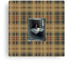 Jamie in Silver frame on plaid Canvas Print