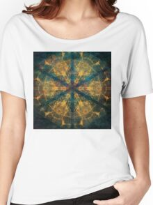 Tribal mandala in blue and gold Women's Relaxed Fit T-Shirt