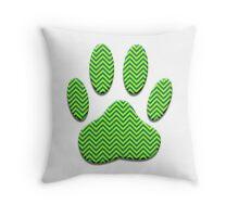 Dog Paw Print With Chevron Pattern  Throw Pillow