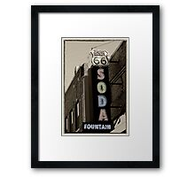 Route 66 Soda Fountain Neon Sign Framed Print