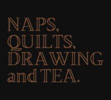 NAPS , QUILTS, DRAWING and TEA One Piece - Short Sleeve