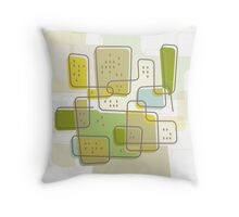 Retro Cityscape Throw Pillow