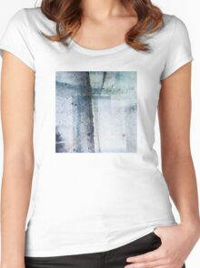 Modern Abstract ink pattern Design in blue and grey Women's Fitted Scoop T-Shirt
