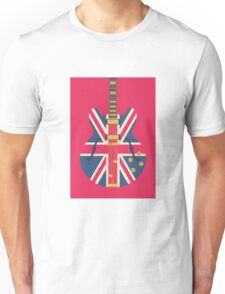 Oasis Union Jack Guitar (Crimson) Unisex T-Shirt