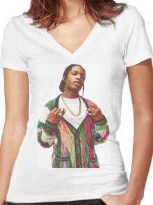 asap rosky Women's Fitted V-Neck T-Shirt