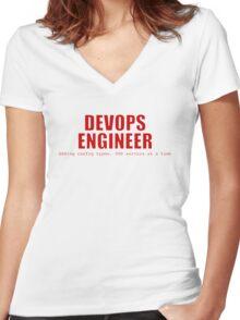 Devops Engineer (Red) Women's Fitted V-Neck T-Shirt