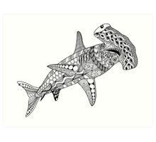 Black & White Hammerhead Shark  Art Print