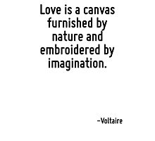 Love is a canvas furnished by nature and embroidered by imagination. Photographic Print