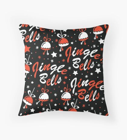 Christmas background with Jingle Bells lettering Throw Pillow