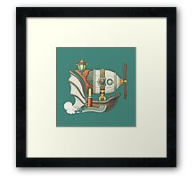 Cartoon steampunk styled flying airship with baloon and propeller Framed Print