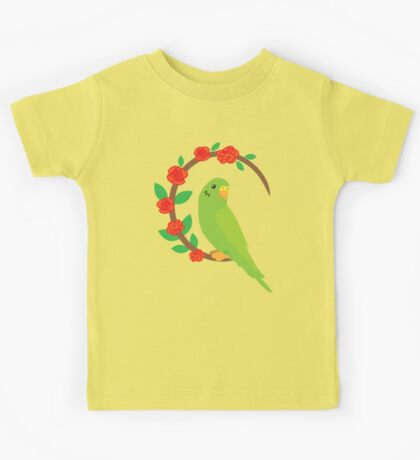 Budgie on a wreath of flowers Kids Tee