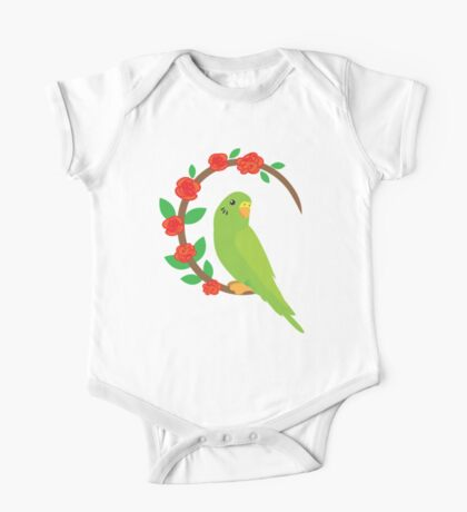 Budgie on a wreath of flowers One Piece - Short Sleeve