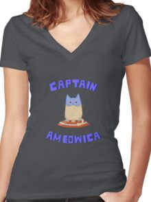 Captain Ameowica Women's Fitted V-Neck T-Shirt