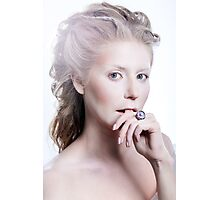 Beautiful girl with glamour Christmas makeup Photographic Print