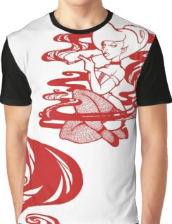 Woman in smoke - Red Graphic T-Shirt