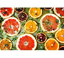 Background from ripe red oranges and grapefruits  Photographic Print