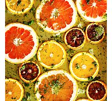 Ripe red oranges and grapefruits cut by rings Photographic Print