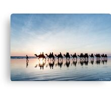 Camel Train at Sunset Canvas Print
