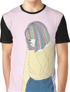 Grunge Girl Rainbow Hair Graphic T-Shirt
