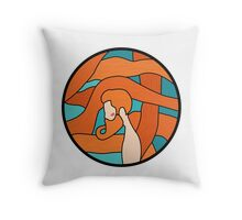 Redhead sailor man with stained glass style Throw Pillow