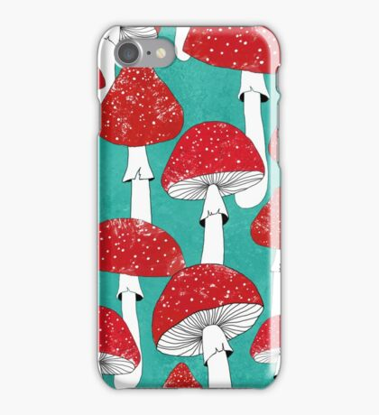 Red mushrooms on turquoise blue iPhone Case/Skin