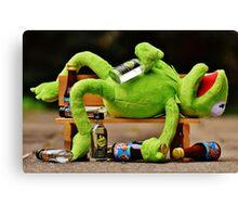 drunk Kermit  Canvas Print