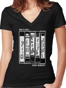 Wrestling's Iconic Moments Through VHS Tapes Women's Fitted V-Neck T-Shirt