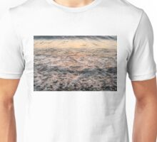 Bubbles in Motion - Whimsical Patterns in the Surf at Sunrise Unisex T-Shirt
