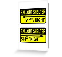 Fallout Shelter Sign with Price (left & right) Greeting Card