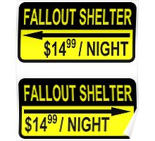 Fallout Shelter Sign with Price (left & right) Poster
