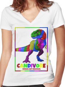 CANDIVORE. (vicious but delicious) Women's Fitted V-Neck T-Shirt